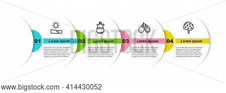 Set Line Beach, Sangria Pitcher, Castanets And Orange Tree. Business Infographic Template. Vector