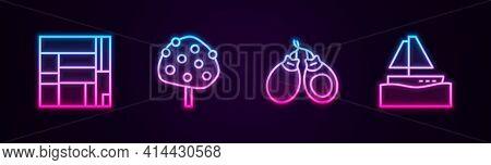 Set Line House Edificio Mirador, Orange Tree, Castanets And Yacht Sailboat. Glowing Neon Icon. Vecto
