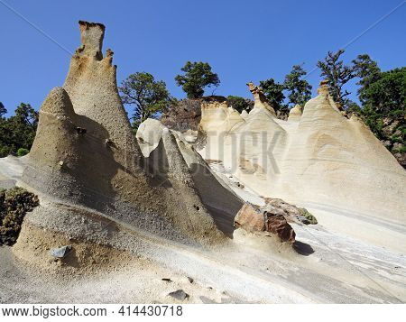 Rock Lunar Landscape, Tenerife, Spain. Scenic View Of Rare Geological Rocks In A Volcanic Landscape