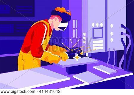 Man With Welding Helmet Welding Steel Vector Illustration Concept. Flat Illustration Isolated On Whi