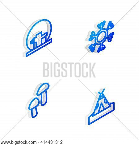 Set Isometric Line Snowflake, Montreal Biosphere, Mushroom And Indian Teepee Or Wigwam Icon. Vector