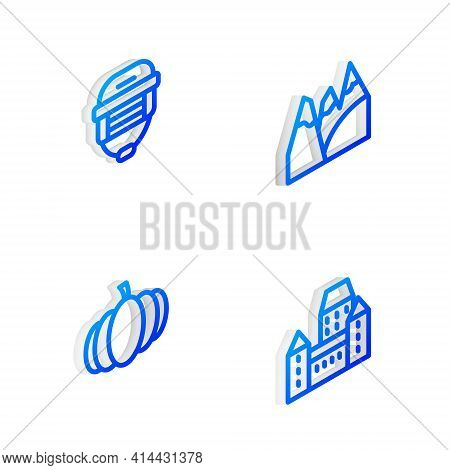 Set Isometric Line Mountains, Hockey Helmet, Pumpkin And Chateau Frontenac Hotel Icon. Vector