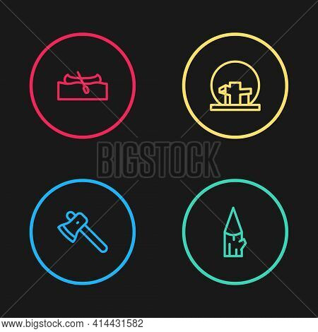 Set Line Wooden Axe, Log, Montreal Biosphere And Kayak Or Canoe Icon. Vector