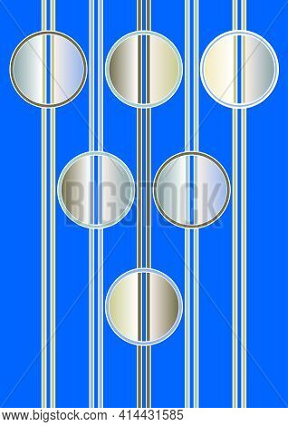 Futuristic Surreal Background With Vertical Stripes And Metallic Circular Elements. Circle Divided B