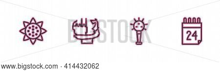 Set Line Sunflower, Mace, Monument To Founders Of Kiev And Independence Day Ukraine Icon. Vector