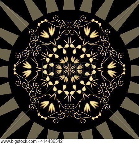 Luxurious Abstract Gold Relief Ornament On Black Background. Geometric Patterns, Art Deco Motif With