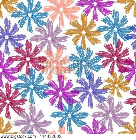 Beautiful Spring Design From Flowers Drawn With Water Colors On A White Background, Seamless Pattern