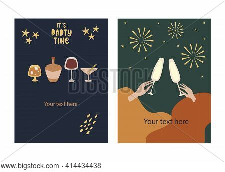 Greeting Card And Party Invitation Set, Party Time, Vector Illustration, Hand Drawn Style.
