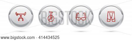 Set Line Bicycle Handlebar, Unicycle Or One Wheel Bicycle, Sport Cycling Sunglasses And Cycling Shor