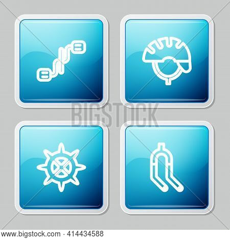 Set Line Bicycle Pedals, Helmet, Sprocket Crank And Fork Icon. Vector
