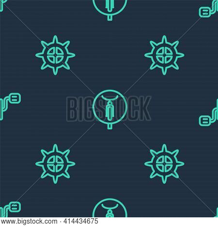 Set Line Bicycle, Sprocket Crank And Pedals On Seamless Pattern. Vector