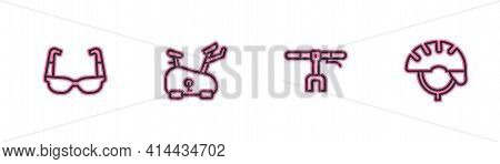 Set Line Sport Cycling Sunglasses, Bicycle Handlebar, Stationary Bicycle And Helmet Icon. Vector