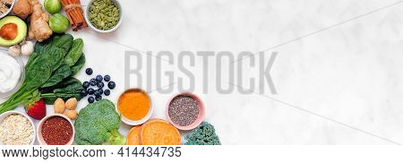 Healthy Food Ingredients. Top View Corner Border On A White Marble Banner Background. Copy Space. Su