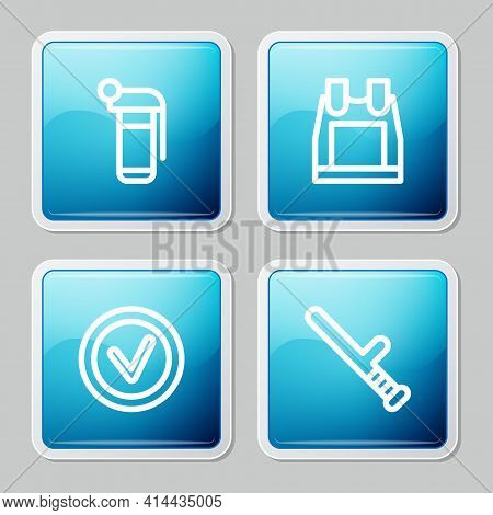 Set Line Hand Grenade, Bulletproof Vest, Check Mark In Round And Police Rubber Baton Icon. Vector