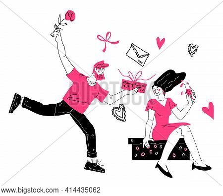 Man In Love Giving Present In Box With Bow To Woman, Cartoon Doodle Style Vector Illustration Isolat