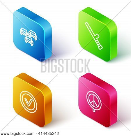 Set Isometric Line Traffic Jam, Police Rubber Baton, Check Mark In Round And Peace Icon. Vector