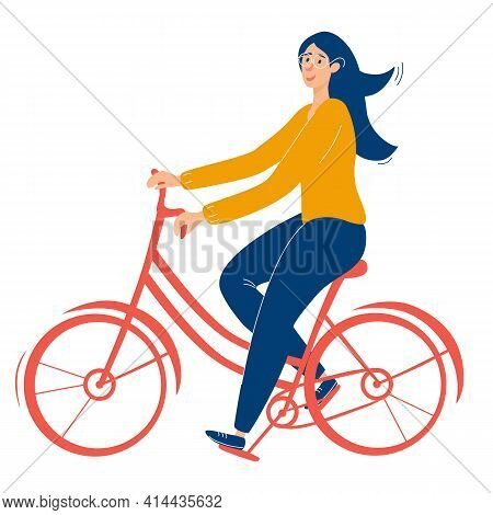 Young, Beautiful Girl With Glasses Rides A Red Bicycle. Girl Healthy Leisure Rides Bike Side Profile