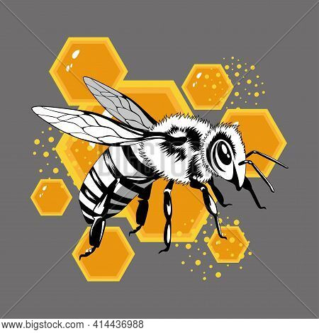 Vector Image Of A Bee On An Abstract Background.