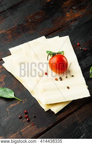 Organic Lasagna Pasta Sheets Set, With Seasoning And Herb, On Old Dark  Wooden Table Background
