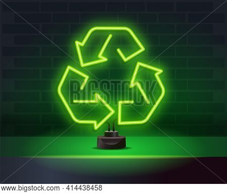 Green Neon Light Recycle Symbol Sign. Recycle Neon Light Icon. Environment Protection. Recycle Arrow
