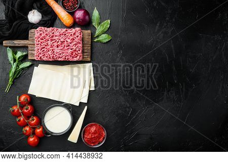 Raw Lasagna Ingredients And Pasta  Set, On Black Stone Background, Top View, Flat Lay, With Copy Spa