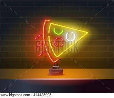 Delivery Pizza Neon Sign. Logo In Neon Style. Vector Neon Pizza Slice Icon. Line Street Food Sign Il