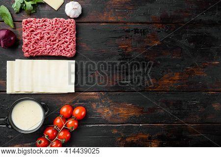 Italian Kitchen Food Cooking Ingredients, With Lasagna Pasta, Parmesan Cheese And Seasoning Set, On