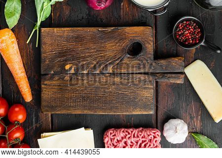 Empty Space Clean Cutting Board  Set The Concept Of Cooking Lasagna. Italian Ingredients, Lasagna Sh