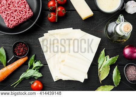 Iingredients For Cooking Italian Lasagna Set, On Black Wooden Table Background, Top View, Flat Lay