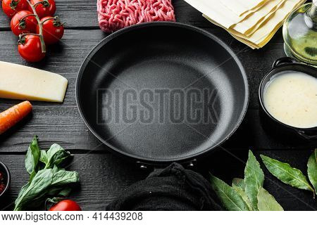 Empty Space Clean Iron Cast Pan Set The Concept Of Cooking Lasagna. Italian Ingredients, Lasagna She
