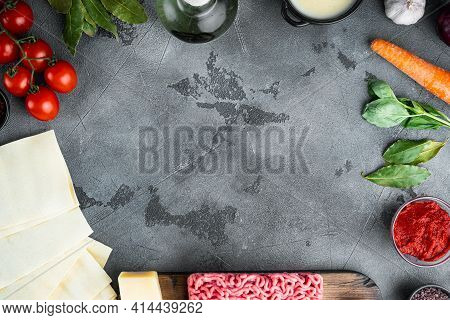 Empty Space Clean Frame Set The Concept Of Cooking Lasagna. Italian Ingredients, Lasagna Sheets Meat