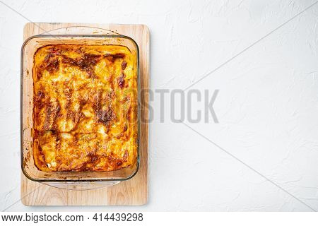 Baked Meat Lasagna Set, In Baking Tray, On White Stone  Background, Top View, Flat Lay