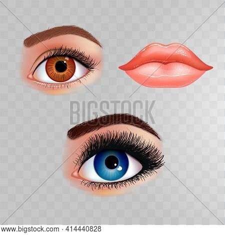 Set Of Beautiful Female Eyes With Extended Eyelashes And Shining Mouth With Glossy Lips. Checkered T