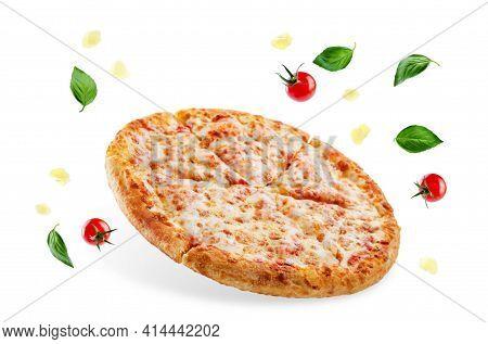 Concept Of Delicious Pizza, Mozzarella Cheese And Copy Space.