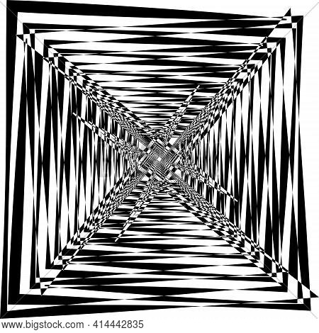 Intersected Trajectory Tower Like Stairs Down Perspective Illusion Abstract Background Designer Cut