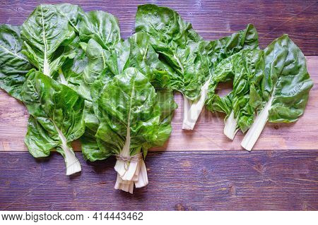 Balkan Cuisine. Blitva ( Chard Leaves ) - Popular Leafy Vegetables On Rustic Background