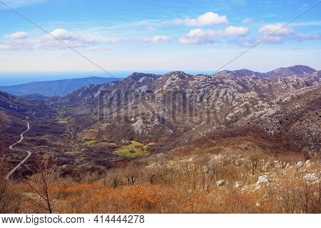 Beautiful Mountain Landscape. View Of Mountain Range Of Dinaric Alps On Sunny Day In Early Spring. B