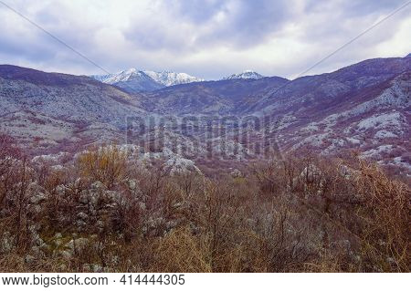 Beautiful Mountain Landscape On Cloudy Day In Early Spring. View Of Orjen,  Dinaric Mediterranean Li