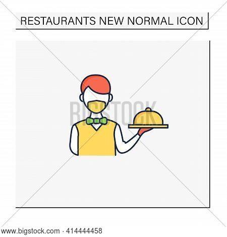 Worker Uniform Color Icon. Restaurant Worker In Face Mask And Gloves. Additional Protection. New Nor