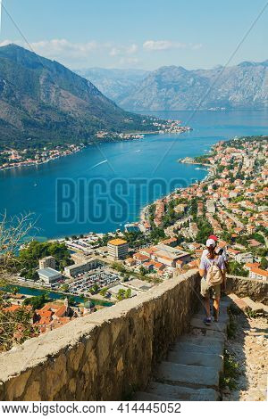 Colorful Landscape With Old Walls In Ancient Citadel, Sea, Mountains, Blue Sky. Top View Of Kotor Ba