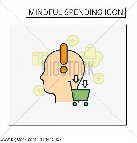 Conscious Consumption Color Icon. Thoughtful Shopping. Thoughtful Spending Money. Buying Necessary T