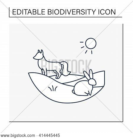 Grasslands Line Icon. Fox And Rabbit Live In Grasslands. Hunting. Generally Located Between Deserts