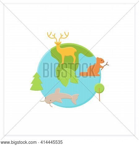 Biodiversity Flat Icon.variety, Life Variability On Earth. Different Animals, Plants Kinds. Underwat