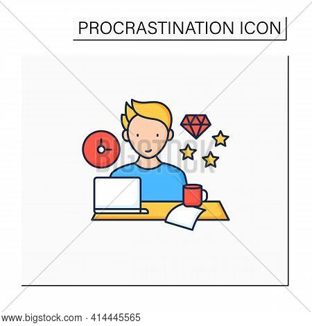 Perfectionist Procrastinator Color Icon. Set Large, Unattainable Goals. Tired To Solve Tasks.procras