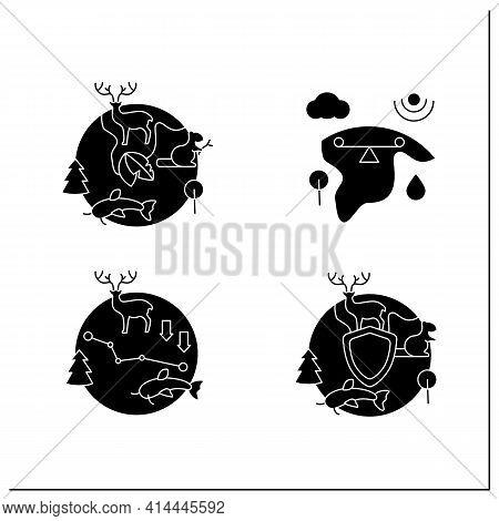 Biodiversity Glyph Icons Set. Ecosystem Balance, Protection, Loss. Biodiversity Concept.filled Flat