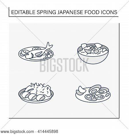 Japanese Food Line Icons. Spring Delicates. Asari Clams, Spring Cabbage, Takenoko, Tai. Tradition Me