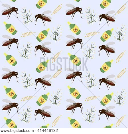 Vector Pattern On The Theme Of Insects And Mosquitoes. Illustration Of A Funny Mosquito And A Protec