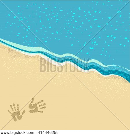 Nature, Sea Waves, Beach, Sand, Footprints On The Sand, The Surface Of The Sea. Vector Illustration