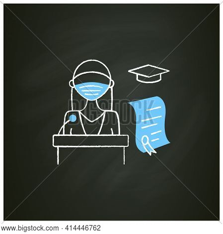 Graduation Ceremony Chalk Icon. Professor Gives Students Education Documents. Motivation Speech. Dip