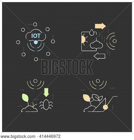 Smart Farm Chalk Icons Set. Consist Of Iot Sensors, Harvesting, Weather Tracking, Pests And Weeds El